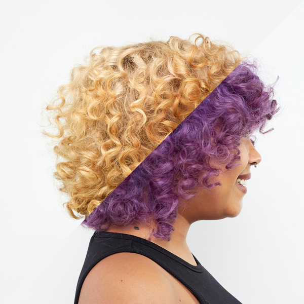 Before and After shot of person with blonde to purple hair