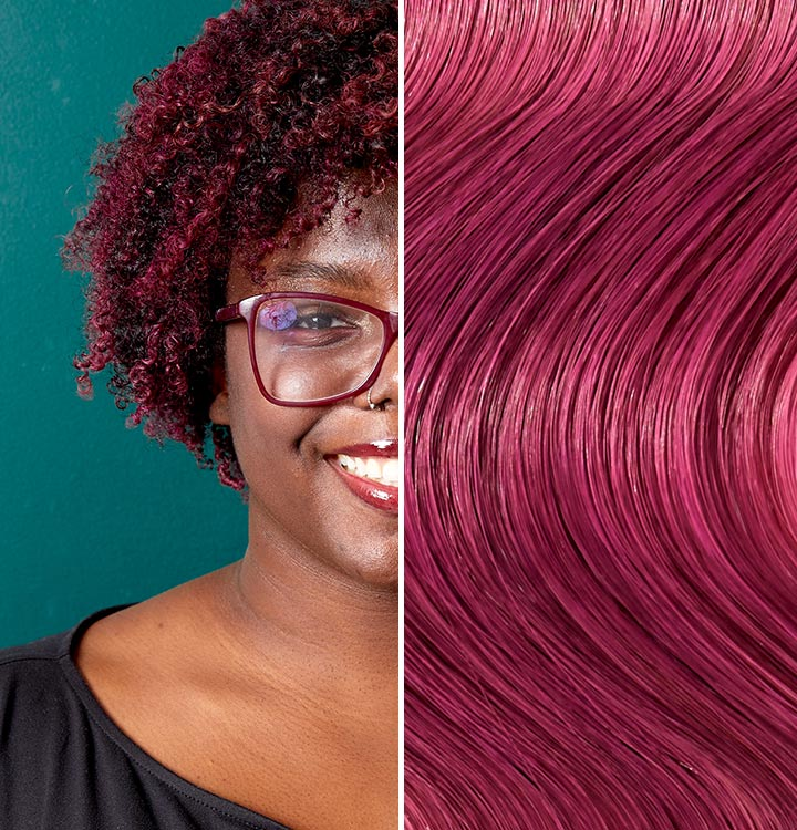 Split image with a person with berry smash hair. Berry Smash is a deep purple red like color.