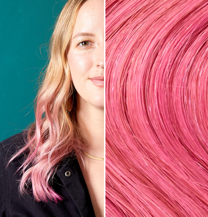 Split image with a person with brunch punch added to the tip of their blonde hair. Brunch Punch is a pink like color.