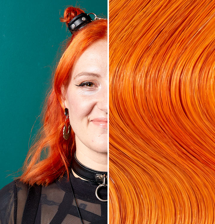 Split image with a person with sunset spritz hair. Sunset Spritz is a orange like color.