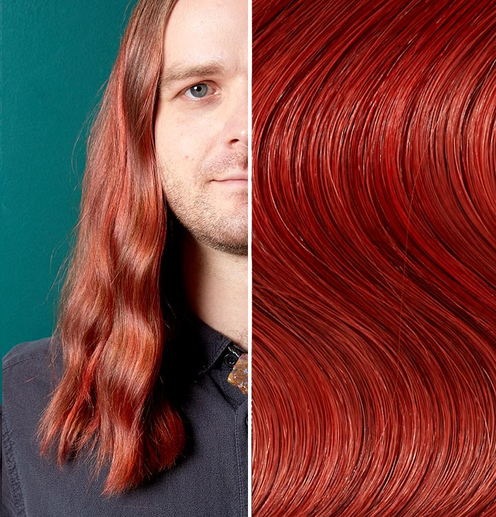 Split image with a person with negroni hair. Negroni is a deep red like color.