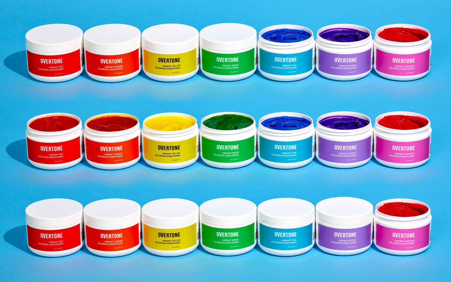 an array of coloring conditioner in different colors
