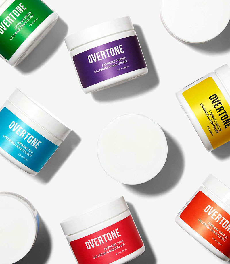 Several contatainers of overtone coloring conditioner samples in various colors