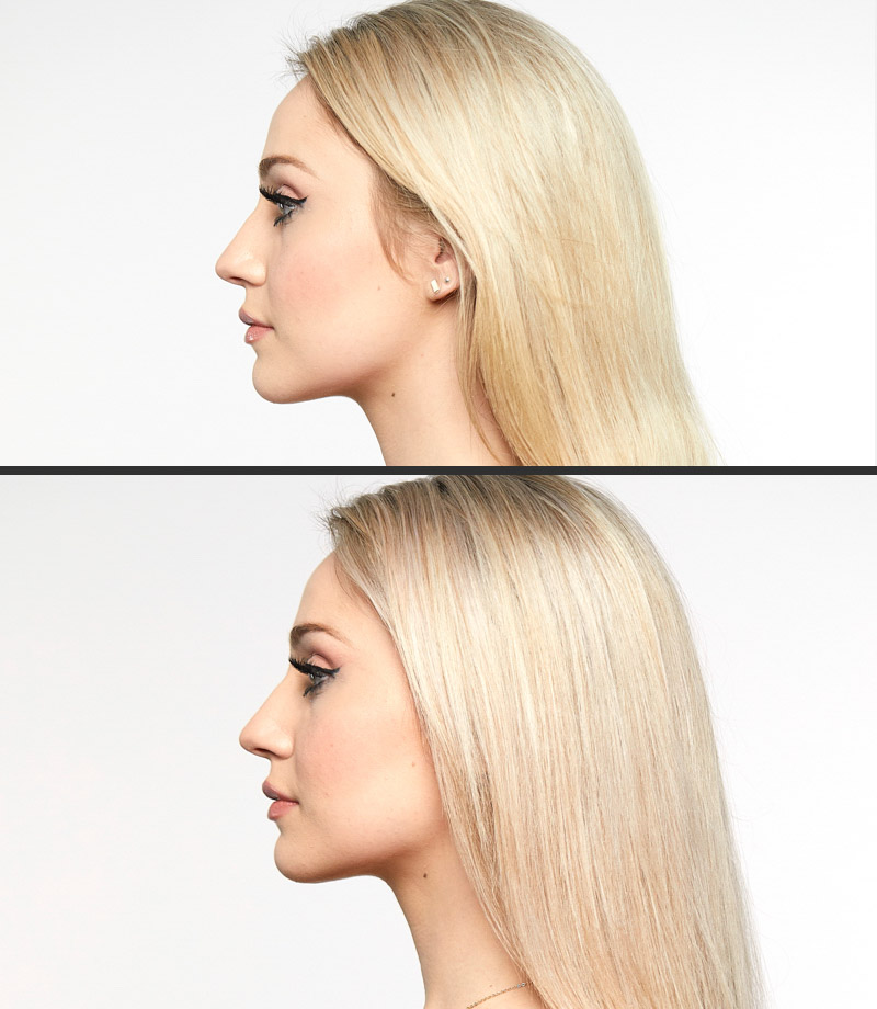 a before and after of a person with blonde hair
